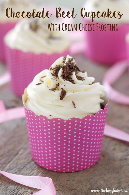 Chocolate Beet Cupcakes with Low Fat Cream Cheese Frosting